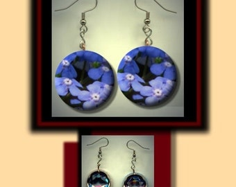 Alaska Forget Me Not State Flower Button Charm Dangle Earrings with Rhinestone