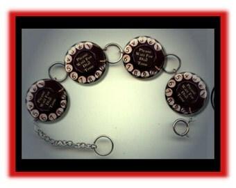 TELEPHONE ROTARY DIAL Phone Retro Altered Art Charm Bracelet with Rhinestone