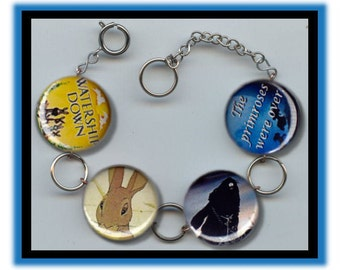 WATERSHIP DOWN Classic Book Altered Art Charm Bracelet with Rhinestone
