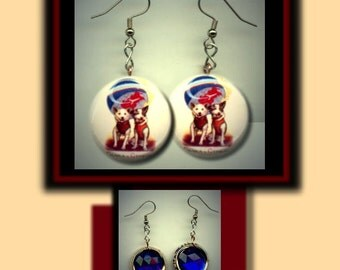 BELKA and STRELKA Russian Space Dogs Altered Art Dangle Earrings with Rhinestone