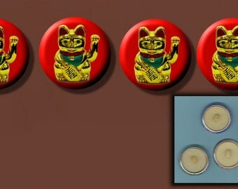 """CHINESE Lucky MONEY CAT Good Fortune 4 Altered Art 1"""" Sew-On Shank Buttons"""
