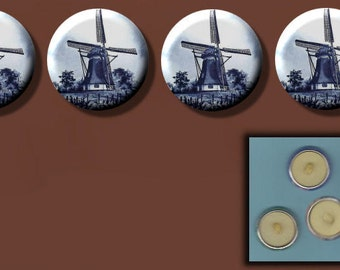 "WINDMILLS DUTCH Blue n White Holland 4 Altered Art 1"" Sew-On Shank Buttons"