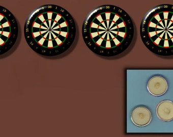 """DARTBOARD DARTS 4 hand pressed Altered Art 1"""" Sew-On Shank Buttons"""