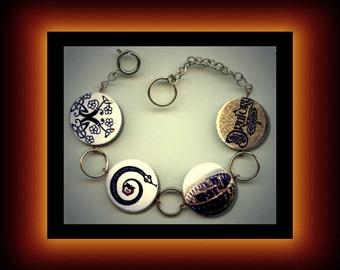 DRUID Stonehenge Wicca Pagan Symbol Altered Art Charm Bracelet with Rhinestone