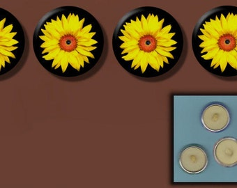 """SUNFLOWER Yellow Flower 4 Altered Art 1"""" Sew-On Shank Buttons"""