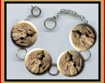 ISHTAR Queen of Night GODDESS of Love Sumerian Babylonian Altered Art Button Charm Bracelet with Rhinestone