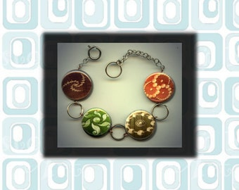 CROP CIRCLES Circle UFO Signs Symbol Altered Art Button Charm Bracelet with Rhinestone