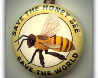 SAVE the HONEY BEE Save the World Altered Art Charm Pendant with Rhinestone