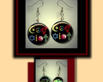 COEXIST RAINBOW Diversity Altered Art Dangle Earrings with Rhinestone