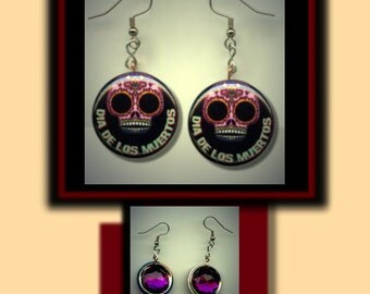 DIA De Los MUERTOS Day of the Dead Mexico Mexican Altered Art Dangle Earrings with Rhinestone