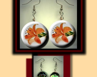 TIGER LILY Orange Flower Altered Art Dangle Earrings with Rhinestone