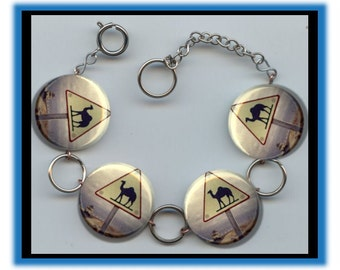 CAMEL CROSSING Road Highway Sign Altered Art Button Charm Bracelet with Rhinestone