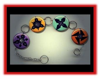 SHURIKEN NINJA Throwing Stars Altered Art Button Charm Bracelet with Rhinestone