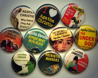 "AGATHA CHRISTIE Mystery 10 Pinback 1"" Buttons Badges Pins"
