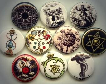 "ALCHEMY Transmutation Ancient SYMBOLS 10 Pinback 1"" Buttons Badges Pins"