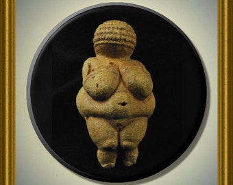 "VENUS of WILLENDORF GODDESS Ancient Pre-Historic Pagan wicca 2.25"" Large Round Fridge Magnet"