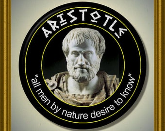 "ARISTOTLE Ancient Greek Philosopher Philosophy quote 2.25"" large Round Fridge Magnet"