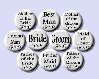 """WEDDING BRIDAL PARTY Black and White Pinback 1"""" Buttons Badges Pins"""