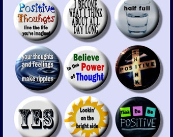 """THINK POSITIVE Thinking Optimistic 9 Pinback 1"""" Buttons Badges Pins"""