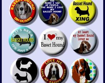 "BASSET HOUND I love my Dog 9 Pinback 1"" Buttons Badges Pins"