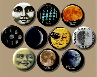 """THE MOON Lunar cosmic 10 Pinback 1"""" Buttons Badges Pins"""