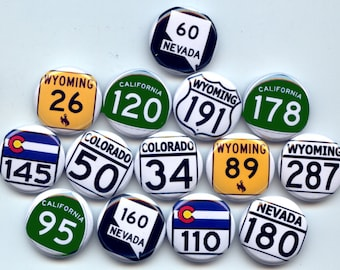 """HISTORIC U.S. HIGHWAY Routes Signs 14 Pinback 1"""" Buttons Badges Pins"""