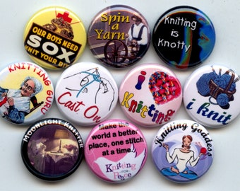 "KNITTING I Love To KNIT Knitter 10 Pinback 1"" Buttons Badges Pins"