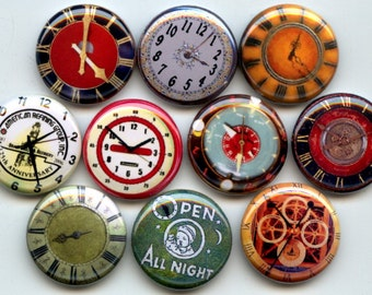 "CLOCK Watch Face Faces 10 Pinback 1"" Buttons Badges Pins"