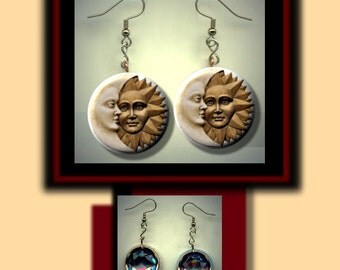 SUN MOON Celestial Wicca Pagan Beige Brown Altered Art Dangle Earrings with Rhinestone