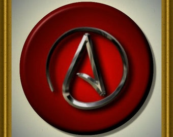 "ATHEIST ATHEISM Red 2.25"" large Round Fridge Magnet"