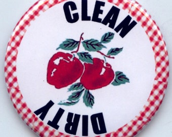 """CHERRIES Red Cherry and Gingham Symbol DISHWASHER Clean/Dirty 2.25"""" large Round  Magnet"""