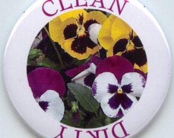 """PANSIES PANSY Flower Dishwasher Clean/Dirty 2.25"""" large Round  Magnet"""