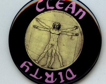 "VITRUVIAN MAN Da Vinci Dishwasher Clean/Dirty 2.25"" large Round  Magnet"