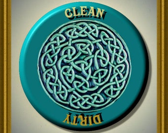 """CELTIC KNOT Blue Green Dishwasher Clean/Dirty 2.25"""" large Round  Magnet"""