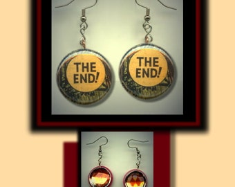 COMIC BOOK CAPTION The End Altered Art Dangle Earrings with Rhinestone