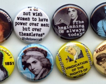 "WOLLSTONECRAFT Mary Feminist Feminism 8 Pinback 1"" Buttons Badges Pins"