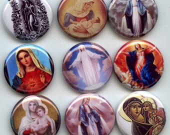 "VIRGIN MARY 9 Pinback 1"" Buttons Badges Pins"