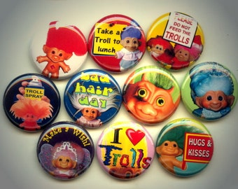 "I LOVE TROLLS 10 Pinback 1"" Buttons Badges Pins"