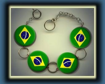 BRAZIL BRAZILIAN Flag Altered Art Button Charm Bracelet with Rhinestone