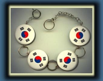 SOUTH KOREA KOREAN Flag Altered Art Button Charm Bracelet with Rhinestone