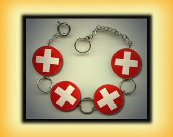 SWITZERLAND SWISS Flag Altered Art Button Charm Bracelet with Rhinestone