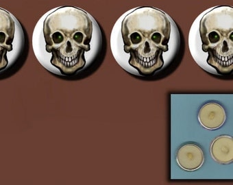 """SKULL with GREEN EYES 4 Altered Art 1"""" Sew-On Shank Buttons"""