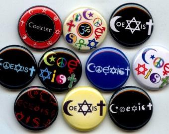 "COEXIST  Anti Discrimination Racism Sexism Tolerance Diversity Equal Civil RightsPeace 10 Pinback 1"" Buttons Badges Pins"