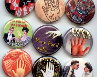 "PALMISTRY Palm Reading Fortune Teller 9 Pinback 1"" Buttons Badges Pins"