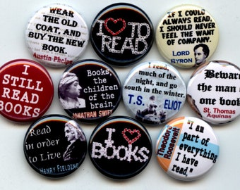 "READING I love to Read 10 Pinback 1"" Buttons Badges Pins"