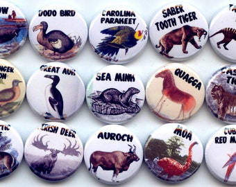 "EXTINCT ANIMALS and Birds15 Pinback 1"" Buttons Badges Pins"