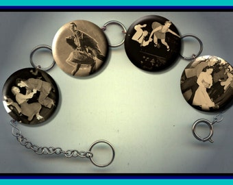 SWING DANCE Dancers Dancing Altered Art Button Charm Bracelet with Rhinestone