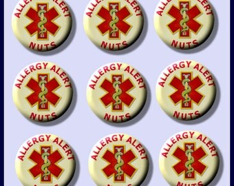"ALLERGY Medical ALERT Nuts Peanut 9 Pinback 1"" Buttons Badges Pins"