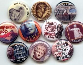 "NERO Ancient ROMAN Emperor 10 Pinback 1"" Buttons Badges Pins"