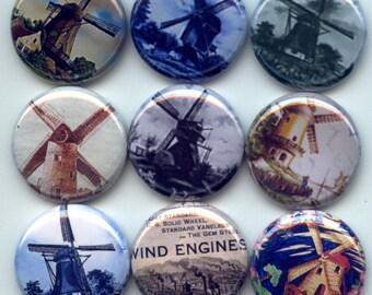 """WINDMILLS DUTCH Holland 9 Pinback 1"""" Buttons Badges Pins"""